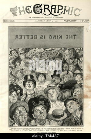 Front page pof the Grpahic Illustrated Newsapaper. July 5th 1902.  Nation's anxiety the crowd reading the bulletion about the King's health at the Dai;ly Graphic office - Stock Image