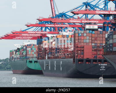 Port of Hamburg container Cargo shipping harbour harbor Germany Europe - Stock Image