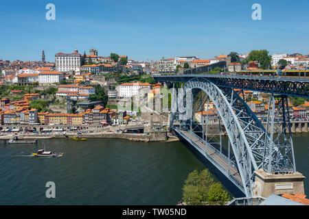 Porto, Portugal and the Dom Luís Bridge and River Douro. - Stock Image