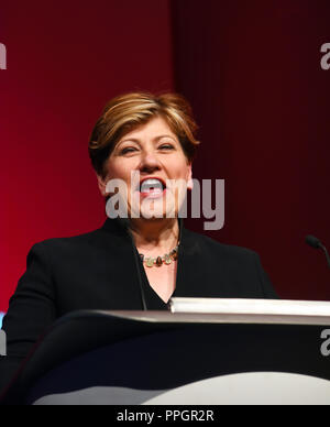 Liverpool, UK. 25th September 2018. Emily Thornberry Shadow first secretary of state. Speaking at the Labour Party Conference in Liverpool Credit: Della Batchelor/Alamy Live News - Stock Image