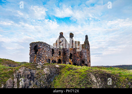 Dunskey Castle, near Portpatrick, Dumfries and Galloway, in south-west Scotland. - Stock Image