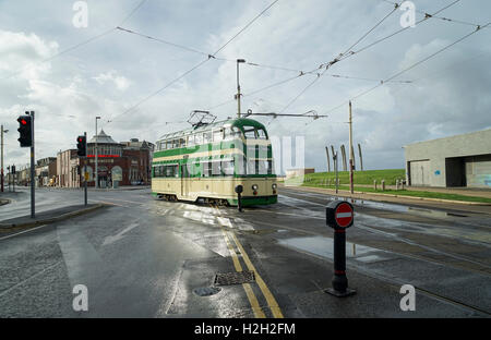 Blackpool 'Balloon' Tramcar No. 717 in the Morning Sunshine -1 - Stock Image