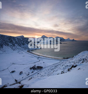 View over Vik beach in winter, Vestvågøy, Lofoten Islands, Norway - Stock Image
