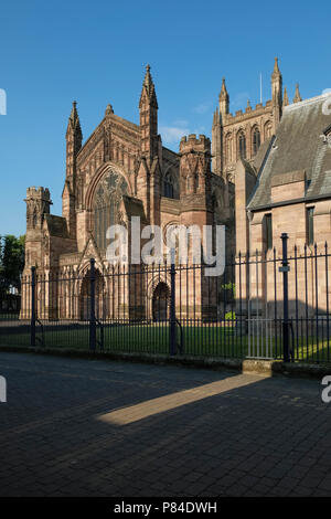 Gothic style architecture of the entrance to Hereford cathedral, Herefordshire, England UK - Stock Image
