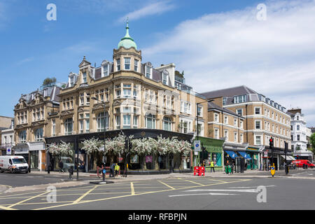 Corner Chepstow Road and Westbourne Grove, Bayswater, City of Westminster, Greater London, England, United Kingdom - Stock Image