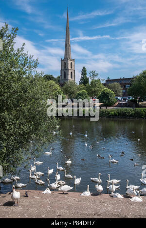 Glovers Needle (aka St Andrews Spire), a tall local landmark in the City of Worcester close to the River Severn, Worcestershire, West Midlands, UK - Stock Image