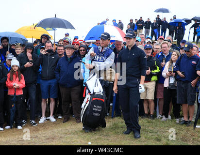19th July, Portrush, Country Antrim, Northern Ireland; The 148th Open Golf Championship, Royal Portrush, Round Two ; Patrick Cantlay (USA) prepares to hit his approach shot to the green at the 17th hole - Stock Image