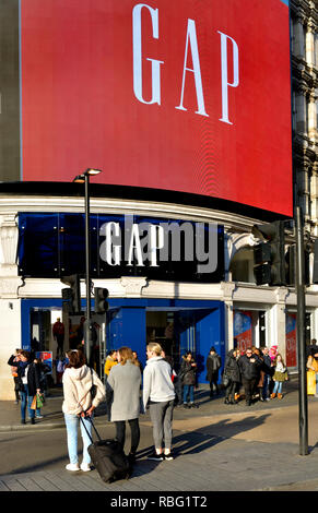 GAP clothes shop in Piccadilly Circus, London, England, UK. - Stock Image
