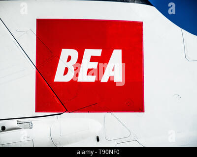 BEA Logo on a historic Trident Two airliner at Duxford Air Museum, part of the historic airliner collection. British European Airways (1946 to 1974) - Stock Image