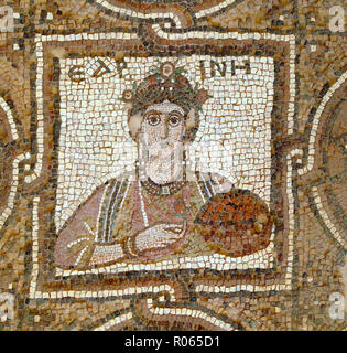 6358. Detail of the mosaic floor of a4th. C. church in Petra, depicting a woman holding a fruit basket. - Stock Image