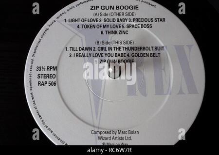 Marc Bolan vinyl record & label - Zip Gun Boogie - Stock Image
