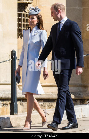 Windsor, UK. 21st April 2019. The Duke and Duchess of Cambridge arrive to attend the Easter Sunday Mattins service at St George's Chapel in Windsor Castle. Credit: Mark Kerrison/Alamy Live News - Stock Image