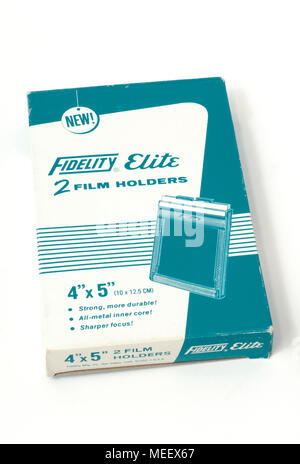 A box of new old stock Fidelity Elite 4x5' large format film holders. - Stock Image