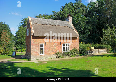 A view of Toad Hole Cottage, a restored marshman's home, at How Hill National Nature Reserve, Ludham, Norfolk, England, United Kingdom, Europe. - Stock Image