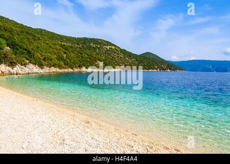 Beautiful crystal clear water of Antisamos beach on Kefalonia island, Greece - Stock Image