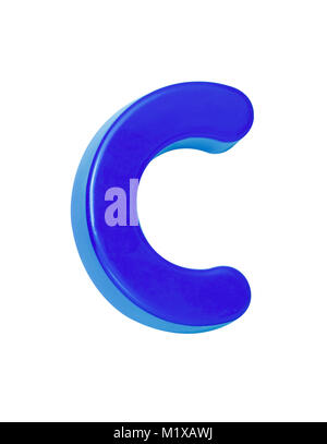 A cut out shot of a blue plastic letter 'C' - Stock Image