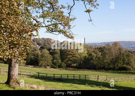View of the Calder Valley with Wainhouse Tower in the distance, Warley, West Yorkshire - Stock Image