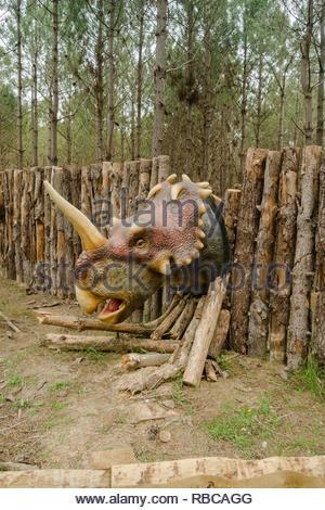 model of centrosaurus ceratopsian at Dino Parque Lourinha Portugal - Stock Image