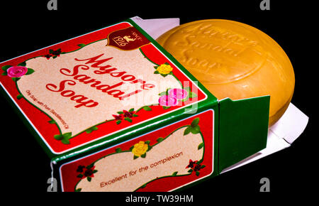 A fresh bar of Mysore sandal soap in its presentation box, a brand manufactured since 1916 by Indian company Karnataka Soaps and Detergents. - Stock Image