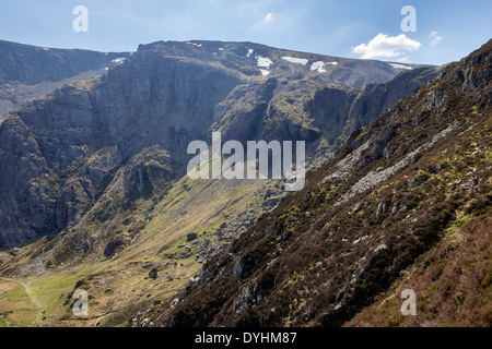 Cwm Idwal and Devils Kitchen path to Glyder Fawr with Idwal slabs seen from Y Garn in mountains of Snowdonia Ogwen Wales UK - Stock Image