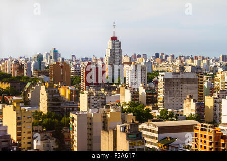 Aerial view of building in a neighborhood in Buenos Aires, Argentina - Stock Image
