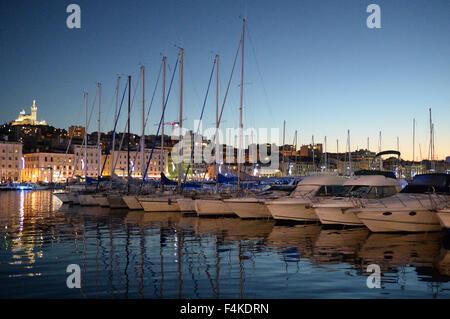 Marseilles dock at dusk - Stock Image