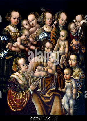 Christ Blessing The Children 1540 ( HB master at the head of Griffon 1528 - 1553 ) German Germany ( Based on the Bible, The Gospel according to Saint Mark - Stock Image