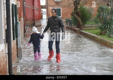 Venice flooded again - 6 February 2015. - Stock Image