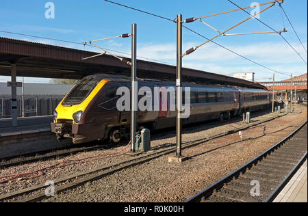 Cross Country train waiting at the station York North Yorkshire England UK United Kingdom GB Great Britain - Stock Image