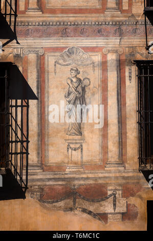 Wall paintings on the Hotel Shine Albayzín, a converted 16th Century mansion in the Albaicín district of the City of Granada, Anddalucia, Spain. - Stock Image