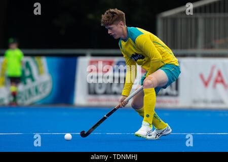 Krefeld, Germany, June 16 2019, hockey, men, FIH Pro League, Germany vs. Australia:  Matthew Dawson (Australia) hits the ball. - Stock Image