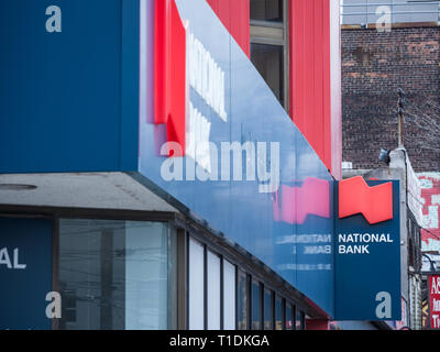 TORONTO CANADA - NOVEMBER 13, 2018: Logo of the National Bank of Canada, in Toronto, Ontario, Quebec. It is one of the largest Canadian banks, and one - Stock Image