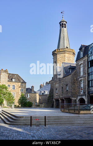 The belfrey chiming clock in Fougères, Brittany, France - Stock Image