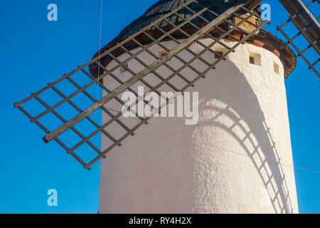 Windmill, close view. Campo de Criptana, Ciudad Real province, Spain. - Stock Image