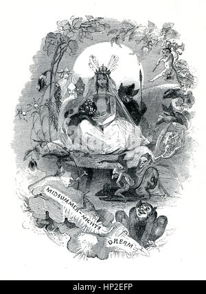 A Midsummer Nights Dream, Victorian book frontispiece for the play by William Shakespeare from the 1849 illustrated - Stock Image