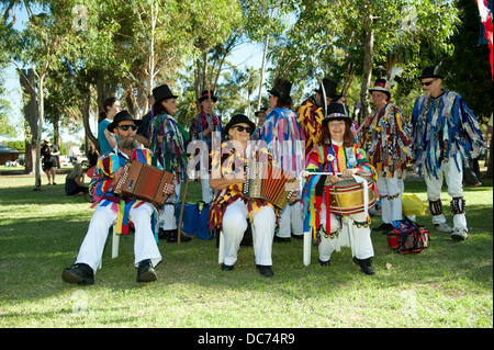 Morris Dancer troupe, or 'side' or 'team', including musicians - Stock Image