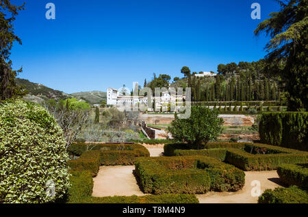 Granada, Andalusia, Spain : View of the 14th century Generalife palace as seen from the gardens of the Parador de San Francisco. - Stock Image