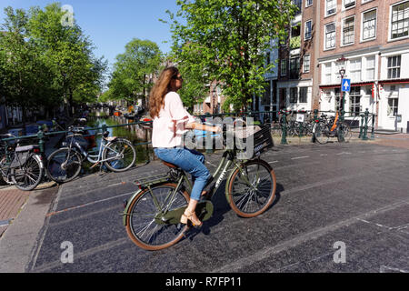 Woman cycling in Amsterdam, Netherlands - Stock Image