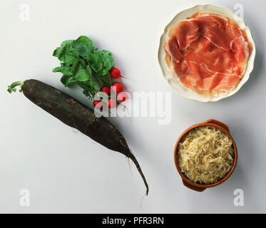 Sauerkraut, Parma Ham and Radishes - Stock Image