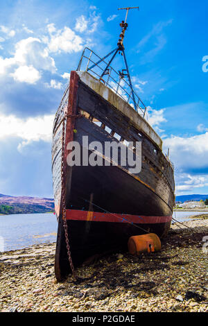 Corpach, Highland, Scotland - April 28th 2018: Wreck of the herring and mackerel trawler MV Dayspring, launched 1975. Later renamed 'Golden Harvest'. - Stock Image