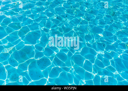 Surface of blue swimming pool, background texture of water - Stock Image