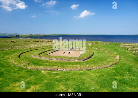 Barnhouse prehistoric settlement site at Stenness, Orkney, Scotland. Recently excavated 5000 year old ceremonial - Stock Image