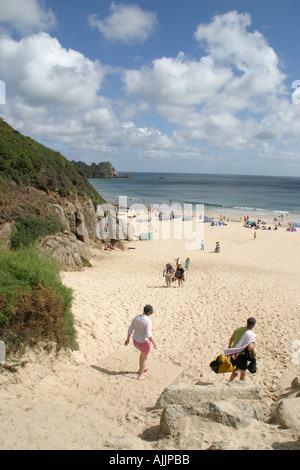 Porthcurno Beach Cornwall - Stock Image