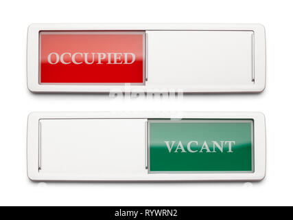 Occupied Vacant Sign Isolated on a White Background. - Stock Image