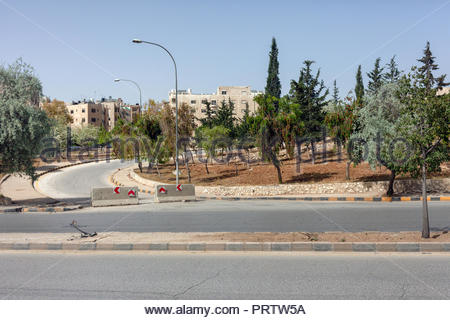 Highway with Blocked Exit in Amman Jordan - Stock Image