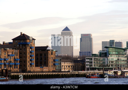 Cityscape and Canary Wharf  London - Stock Image