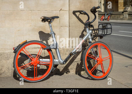 Mobike hire bikes in Merton Street, Oxford - Stock Image