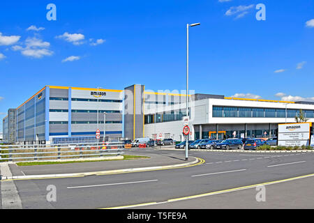 Big Amazon warehouse & distribution centre building handles online shopping retail internet & technology business development Tilbury Essex England UK - Stock Image