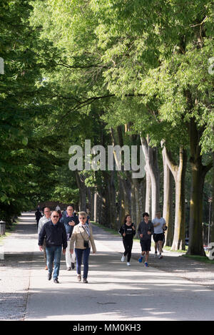 Older couple walking and young people jogging around the city walls in Lucca, Tuscany, Italy, Europe - Stock Image