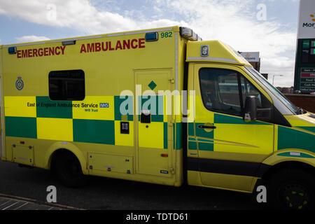 Ambulance parked  in Cromer, Norfolk in June - Stock Image